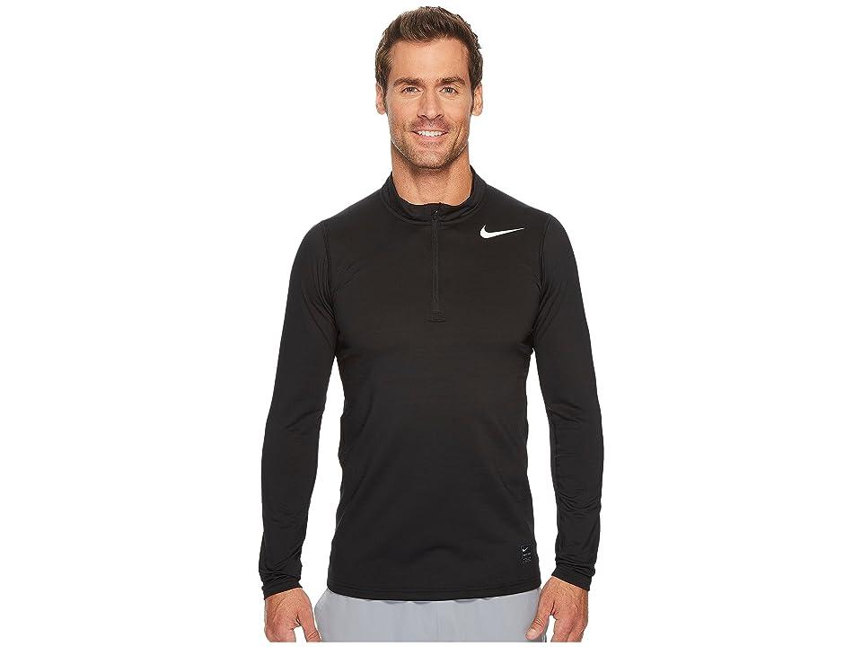 Nike Pro Warm 1/4-Zip Top (Black/Cool Grey/White) Men