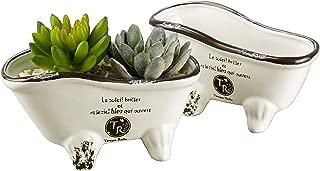 MyGift White Vintage Porcelain Claw Foot Bathtub Style Planters, Set of 2