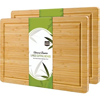 Utopia Kitchen (Pack of 2) Extra Large Organic Bamboo Cutting Board (17 x 12 inch) - Large Cutting Boards for Meat and Chopping Vegetables