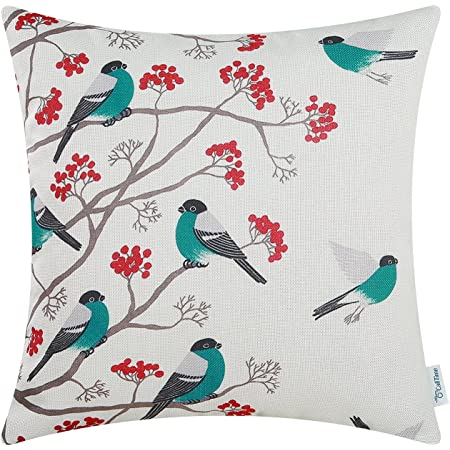 Calitime Canvas Throw Pillow Cover Case For Couch Sofa Home Decoration Cute Bird Tree Branches Silhouette 18 X 18 Inches Teal Black Home Kitchen