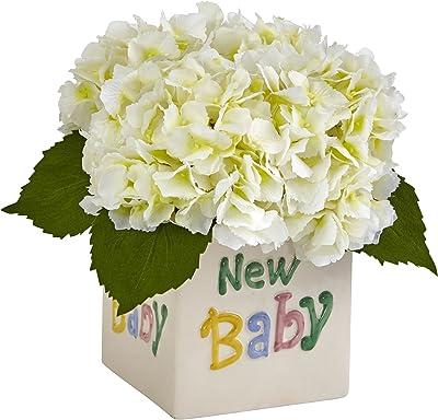 Nearly Natural 1448-CR Hydrangea in New Baby Ceramic