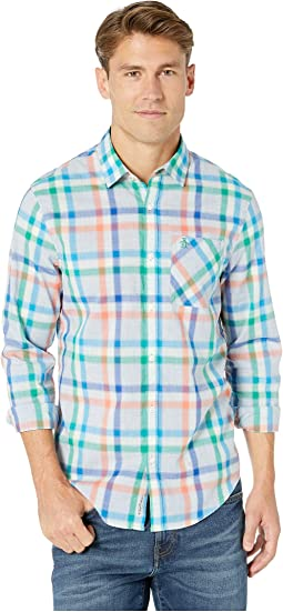 Long Sleeve Stretch Heathered P55 Plaid