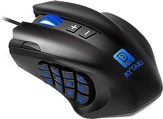 ゲーミングマウス Rytaki R6高精度16400DPIレーザーMMO有線マウス 19個のプログラム可能ボタン 12個のサイドボタン 設定可能なDPIとポーリングレート PC用 MMO用 重さ調整可能 ブラック