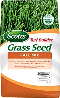 Scotts Turf Builder Grass Seed Fall Mix - 3 lb., Establishes Quickly to Help Lawn Recover From Summer Stress, Thickens and Strengthens To Help Prevent Future Weeds, Seeds up to 1,200 sq. ft.