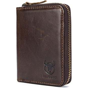 BULLCAPTAIN Genuine Leather Billfold Wallet RFID Blocking Vintage Men Women CHIC