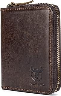 BULLCAPTAIN Genuine Men Leather Wallet RFID Blocking Zipper Wallets for Men