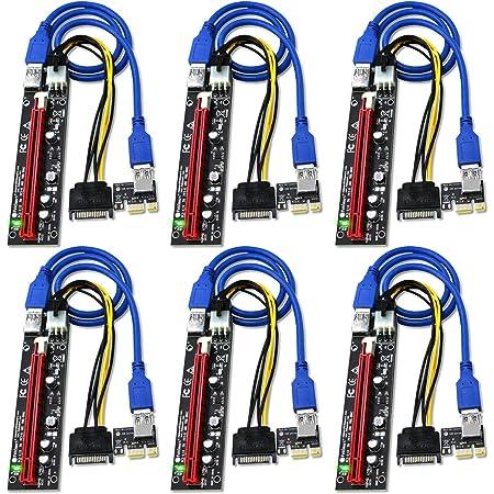FebSmart PCI-E Riser for Bitcoin Litecoin ETH Coin Mining 6 PIN Powered PCIE Extension Cable GPU Riser Ethereum Mining ETH GPU Extension Cable PCIEX1 to PCIE X16 Extender VER006C GPU Riser(6-PCS)