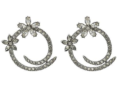 Oscar de la Renta Pave Flower Hoop Earrings
