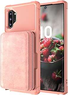 Galaxy Note 10 Case Samsung,Shockproof Zipper Kickstand Protective Credit Card Case Holder High Capacity Durable Cover Shell Girl Boy Men Women Pink