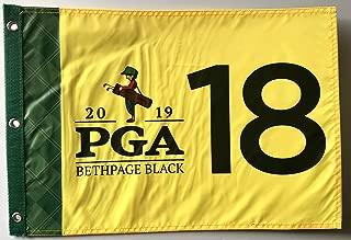 2019 Pga Championship flag bethpage black golf silkcreen logo yellow pin flag