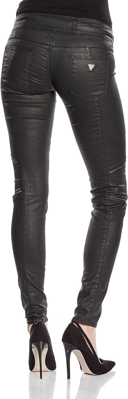 Guess Biker Zip Pantalon Femme Noir