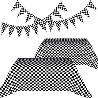 Blulu Racing Party Decorations Include 2 Pieces Black and White Checkered Table Cover and 2 Pieces Checkered Black and White Pennant Banner Racing Flags (Checkered Flag)