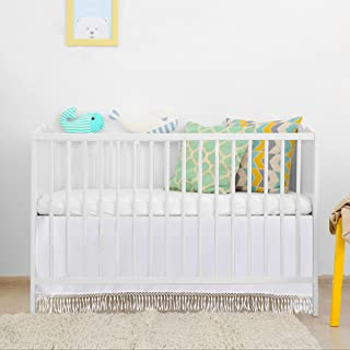 White Droplets Crib Skirt for Standard Crib Bed 52 by 28 by 15 Inches