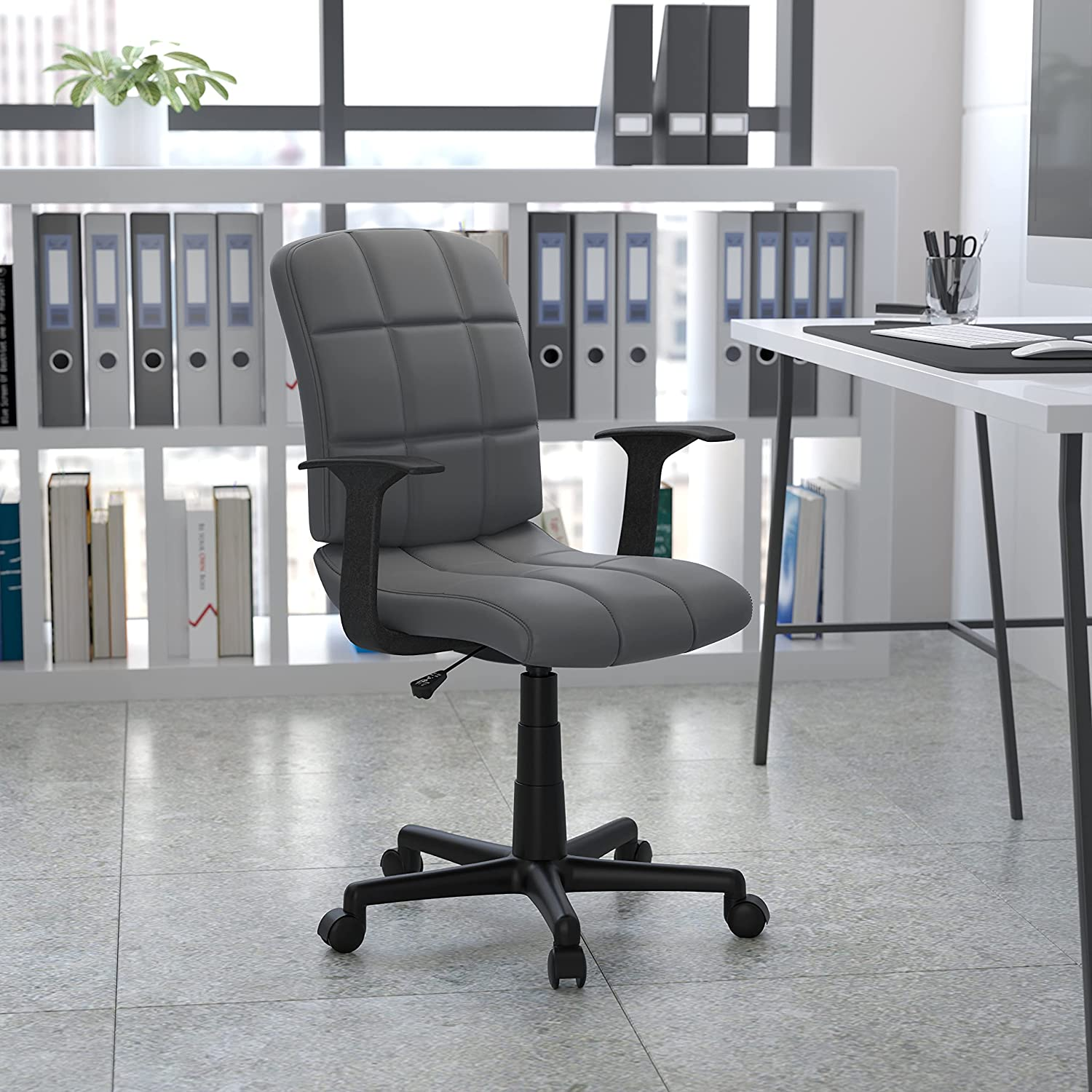 Flash Furniture Mid Back Swivel Task Gray Chair with Surprise price Arms Kansas City Mall Viny -