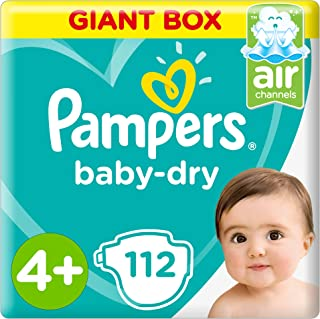 Pampers Baby-Dry, Size 4+, Maxi+, 112 Diapers [Packaging May Vary]