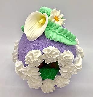 Sugar Egg Handcrafted Easter Decoration - Medium Decorative Panoramic Lavender