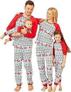 PopReal Family Pajamas Matching Sets Matching Christmas PJs with V-Neck Plaid Top Plain Pants Long Sleeve Sleepwear Green