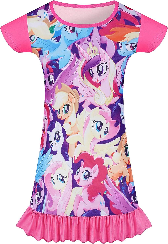 Toddler Girls Short Sleeve Dress Unicorn Shirts for Kids 3-8 Years