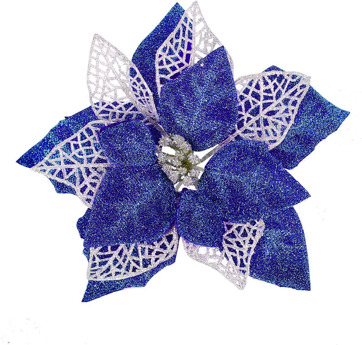 Jim's Cabin Artificial Flowers Pack Poinsettias 12 Sales for sale Bombing free shipping of fo Glitter