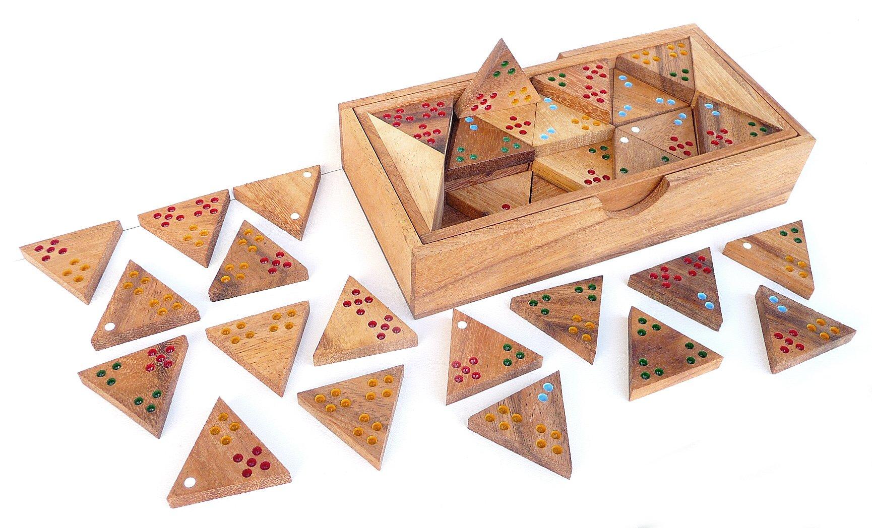 LOGICA GIOCHI Art. Tridomino - Juego de Mesa para 2-6 Jugadores - Madera Preciosa: Amazon.es: Juguetes y juegos