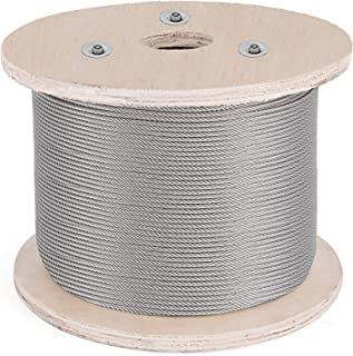BestEquipCable Railing 500FT Stainless Steel Wire Rope 1/8 Inch Stainless Stranded Wire 1x19 Wire Rope T316 (500FT)