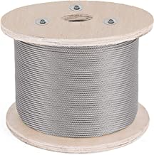 BestEquip Cable Railing 1000FT Stainless Steel Wire Rope 1/8 Inch Stainless Stranded Wire 1x19 Wire Rope T316 (1000FT)