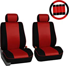 FH Group FH-FB063102 Pair Set Sports Fabric Car Seat Covers, Airbag Compatible and Split Bench W. FH2033 Steering Wheel Cover and Seat Belt Pads Red/Black Color- Fit Most Car, Truck, SUV, or Van