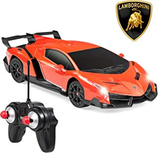 Best Choice Products 1/24 Officially Licensed RC Lamborghini Veneno Sport Racing Car w/ 27MHz Remote Control, Head and Taillights, Shock Suspension, Fine Tune Adjustment - Orange