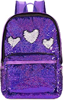 SIWA MARY Reversible Sequins School Backpack for Girls Students Magic Glitter Mermaid Lightweight Travel Backpack