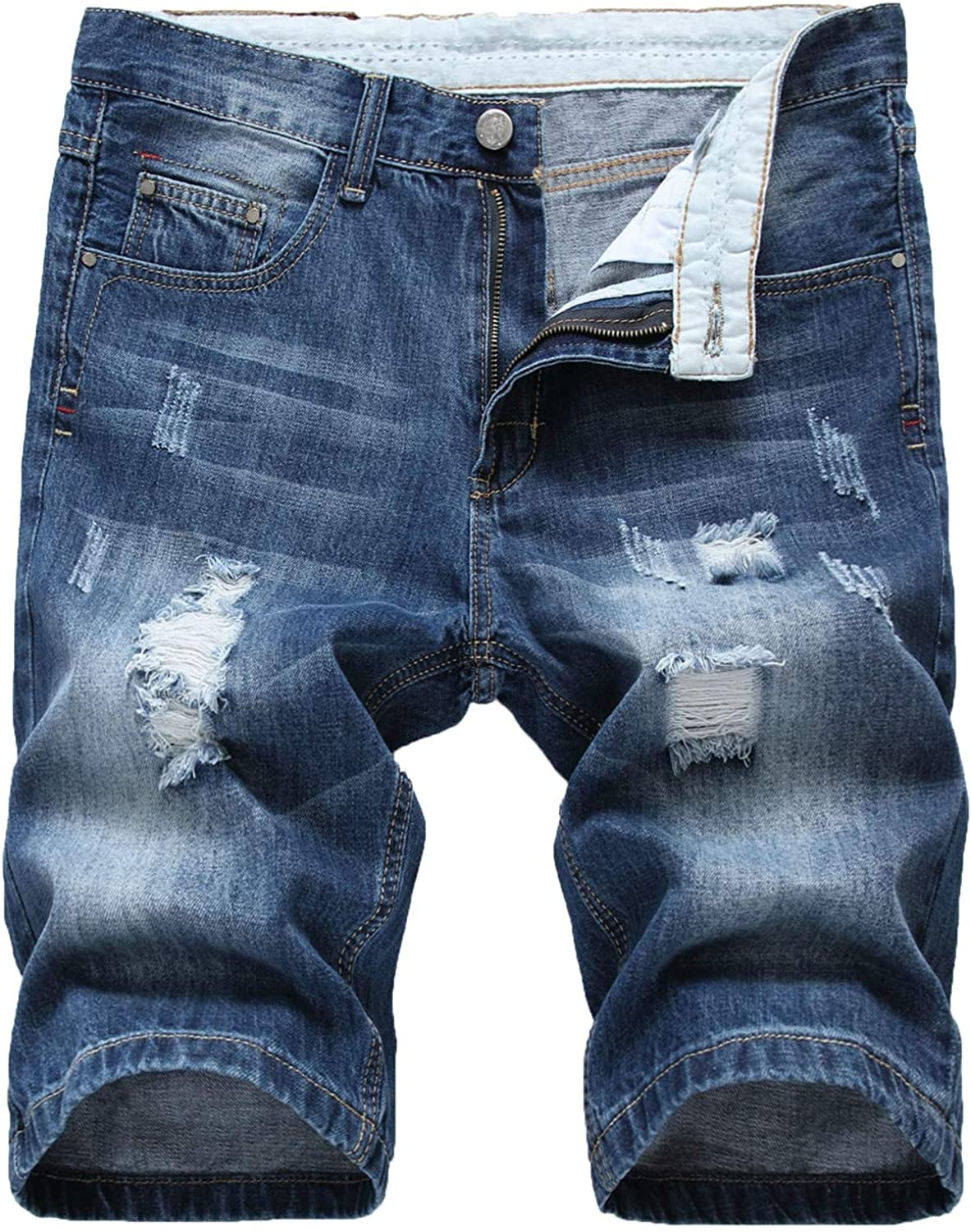 Andongnywell Men's Summer Casual Denim Shorts Distressed Stretchy Jeans Shorts Ripped Straight Short Pants