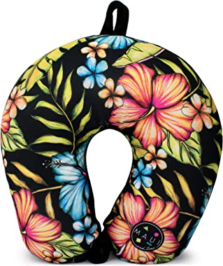 Maui and Sons Extra Soft Microbeads Travel Neck Pillow/Airplane Pillow for Supportive Comfort (Hawaiian Black)