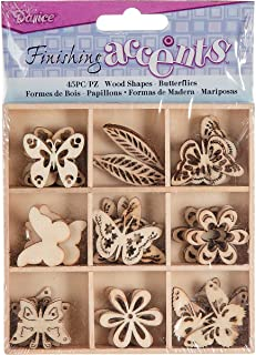 Finishing Accents 23461 45 Piece Butterfly Theme Mini Laser Cuts Wood Shapes, Multicolor