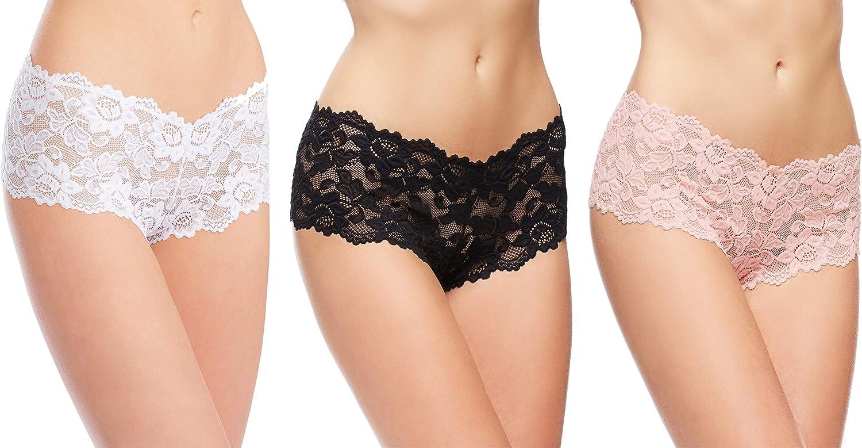 3-Pack quality assurance Jenny Jen Zoe Women's Cheeky Panties Lace Hipster Ranking TOP20 Bikini
