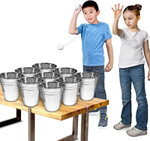 Gamie Bucket Ping Pong Ball Game Includes 9 Metal Buckets, 12 Balls, and 1 Number Sticker Sheet - Fun Party Activity for Kids and Adults, Great Gift Idea for Kids