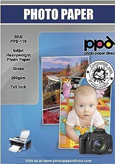 PPD Papel fotográfico brillante para impresión de inyección de tinta (secado Instantáneo) 13x18 cm (7x5) 260 g/m² X 100 hojas PPD119-100