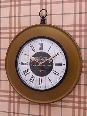 Home Sparkle Wall Clock Mild Steel (Golden)