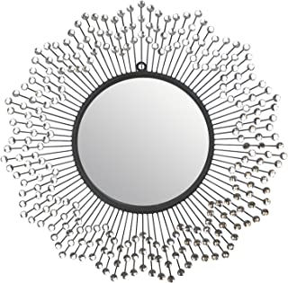 """LuLu Décor, Celebration Metal Wall Mirror, Frame 24"""", Round Decorative Mirror for Living Room and Office Space"""