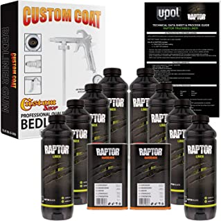 U-POL Raptor Black Urethane Spray-On Truck Bed Liner Kit w/FREE Custom Coat Spray Gun with Regulator, 8 Quart Kit