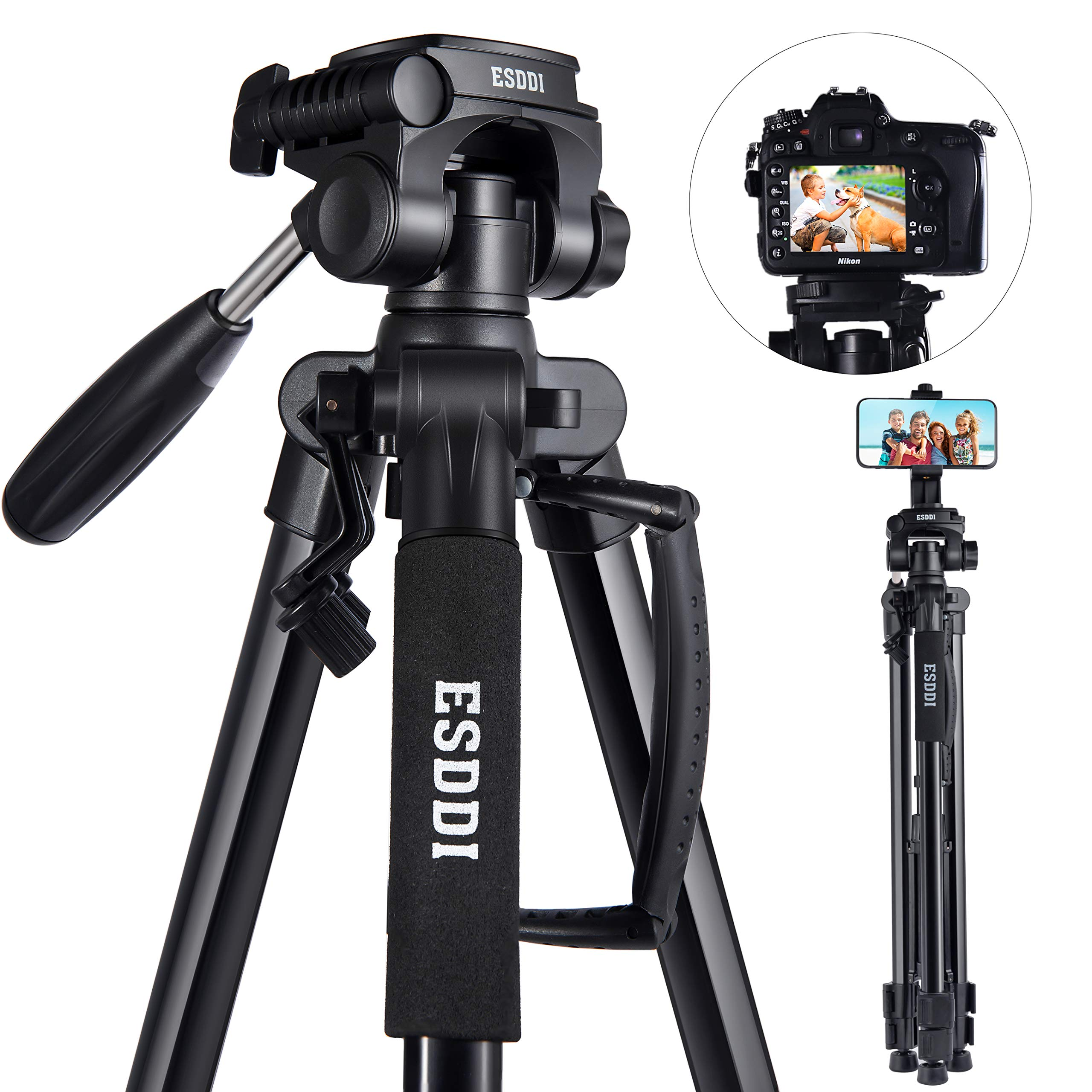 Amazon Com Esddi Updated Camera Tripod 67 170cm Lightweight Portable Travel Tripod For Camera With Phone Holder And Quick Release Plate For Canon Nikon Sony Samsung Olympus With Carrying Bag Load Capacity 11lb