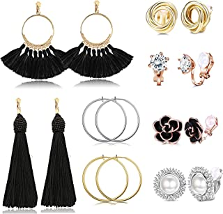 Udalyn 8 pares de pendientes de clip con borla de abanico bohemio, flor de rosa, perla de circonita, pendientes de aro, pe...