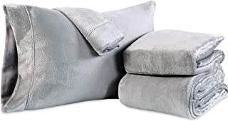 Berkshire Blanket VelvetLoft Plush Sheets Set Lounge Robe, Queen, Grey Gust