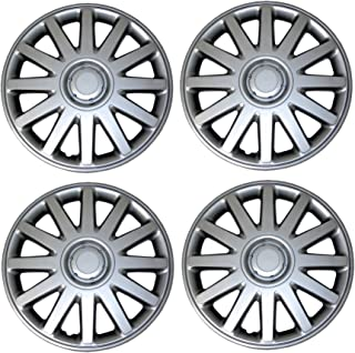 Tuningpros WC3-15-610-S - Pack of 4 Hubcaps - 15-Inches Style 610 Snap-On (Pop-On) Type Metallic Silver Wheel Covers Hub-caps