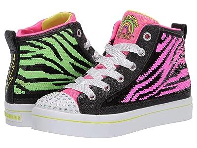 SKECHERS KIDS Flip Kicks Twi-Lites 2.0 (Little Kid/Big Kid) (Black/Neon Pink) Girl
