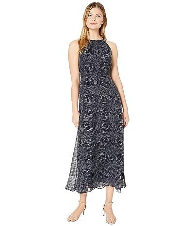 Adrianna Papell Darling Dot Halter Maxi Dress (Navy/Ivory) Women