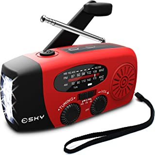 [Upgraded Version]Emergency Radio, Esky 3 LED Lights Flashlight Hand Crank Radio, Portable Solar Radio AM/FM NOAA Weather ...