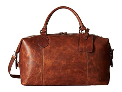 Frye Logan Overnight (Cognac Antique Pull Up) Satchel Handbags