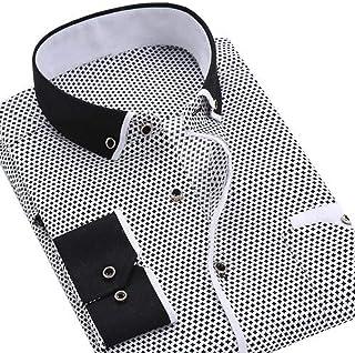Men's Shirts Mens Shirts Long Sleeve Casual Shirt Business Men Dot Plaid Print Turndown Collar Long Sleeve Button Shirt Bl...
