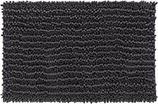 Yimobra Original Luxury Chenille Bath Mat, Soft Shaggy and Comfortable, Large Size, Super Absorbent and Thick, Non-Slip, Machine Washable, Perfect for Bathroom (31.5 X 19.8 Inches, Dark Gray)