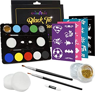 Face Painting Set for Parties with 32 Stencils (for 50-80 Face Paint Projects) 8 Colors, 2 Brushes, 2 Glitters, 2 Sponges & 2 Applicators Included - 100% Safe, FDA Compliant, Water Activated