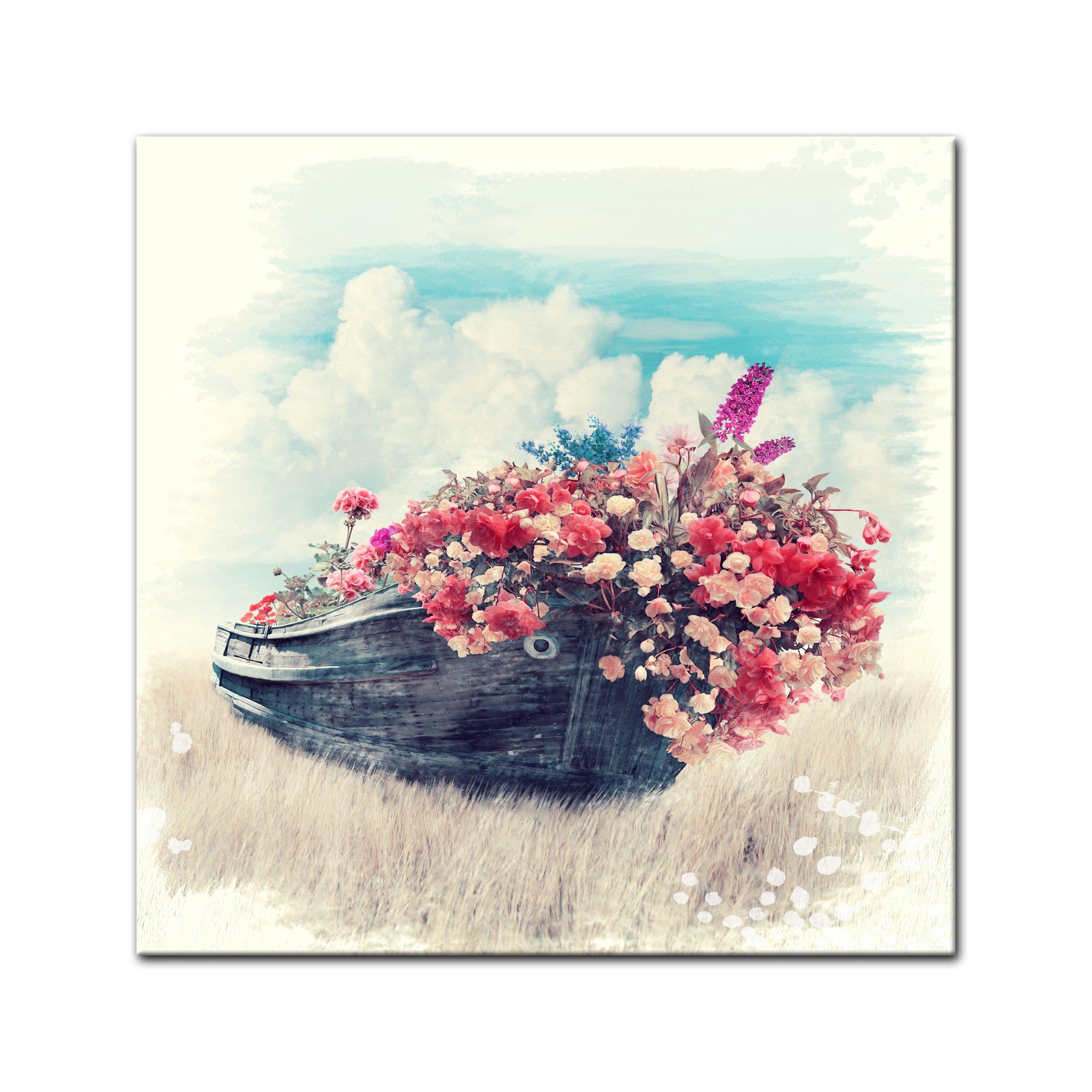 Bilderdepot24 Cuadros en Lienzo Lámina Reproducción Acuarela Barco Viejo con florn 40 x 40 cm - Listo tensa, Directamente Desde el Fabricante: Amazon.es: Hogar